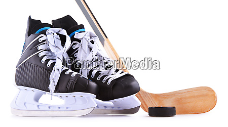 pair of ice hockey skates isolated