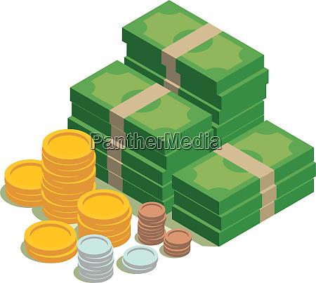 einkommen sparen geld dollar muenzen waehrung