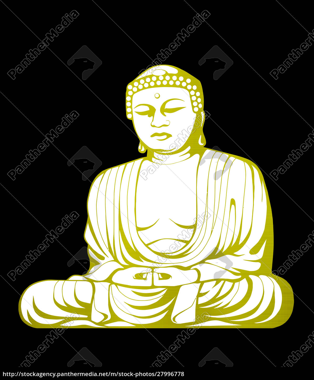 illustration, golden, weiß, buddha, asiatische, kultur - 27996778