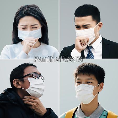asiaten leiden unter husten mit gesichtsmaskenschutz