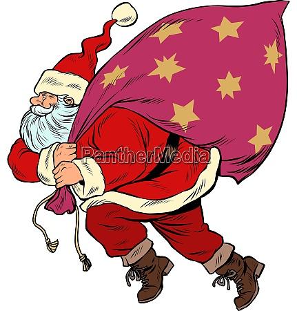 weihnachtsmann mit einer tuete geschenke pop