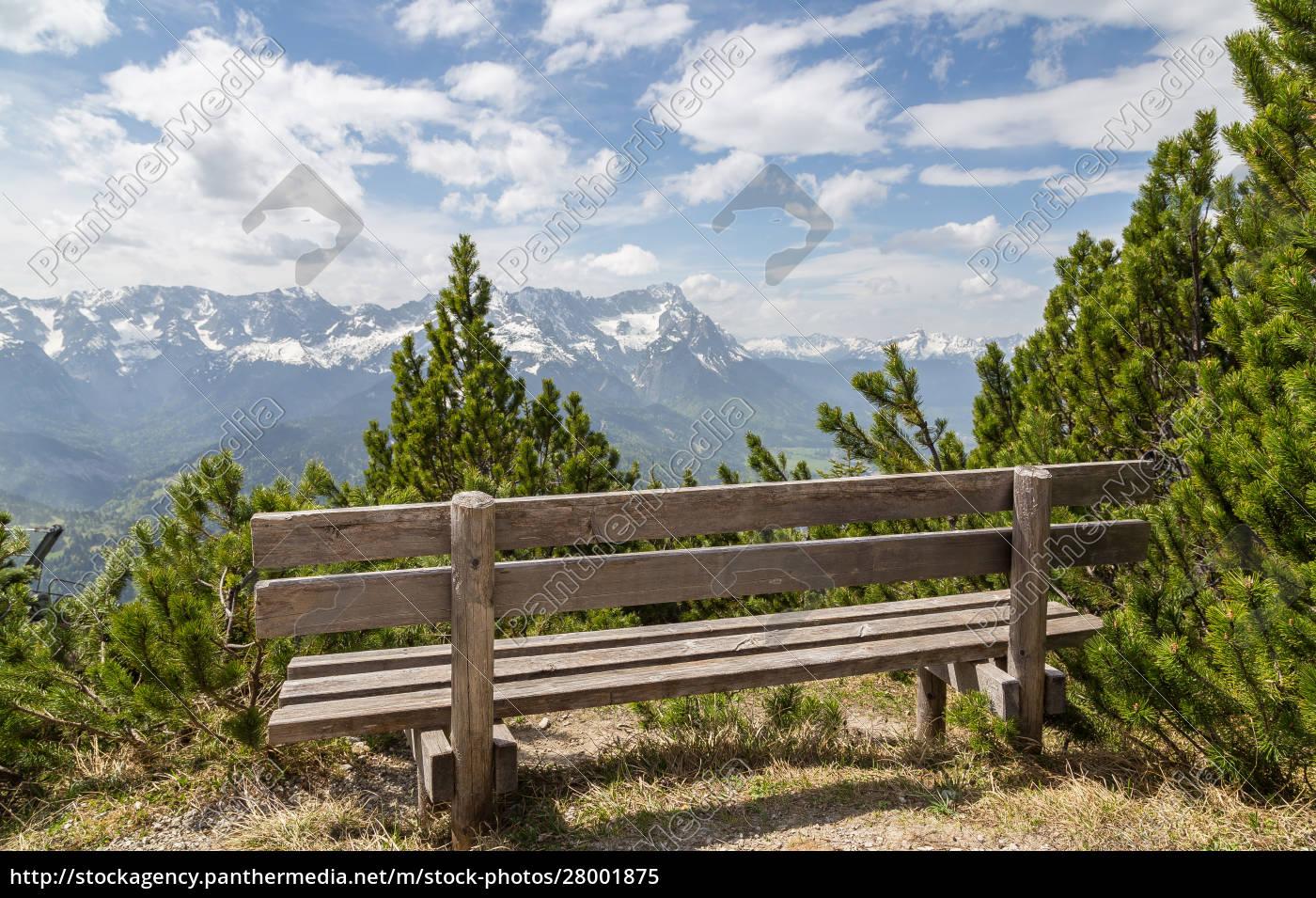 alpenpanorama, mit, sitz, garmisch-partenkirchen, bayern, deutschland - 28001875