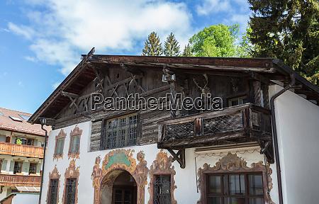 historische, fassade, in, garmisch-partenkirchen, bayern, deutschland - 28001928