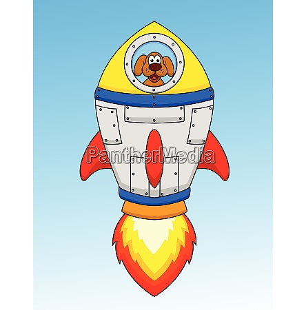 cartoon hund astronaut in raumschiff
