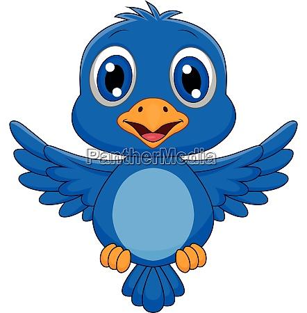 suesse blaue vogel cartoon fliegen