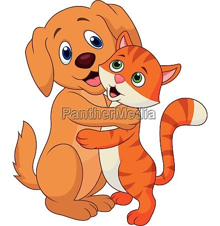 nette hund und katze cartoon umarmt