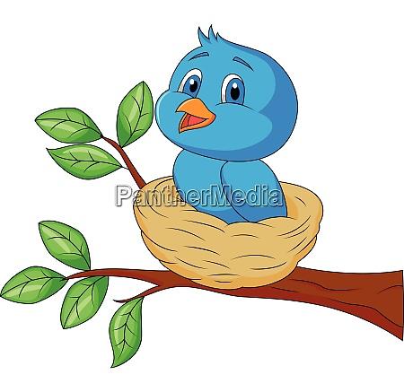 cartoon blue bird sitting on tree