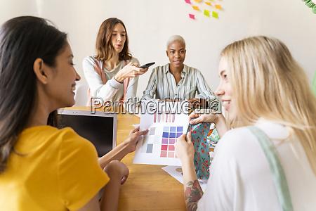 modedesigner bei einem treffen im buero
