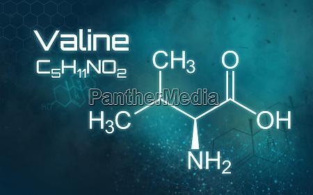chemische formel von valine auf einem