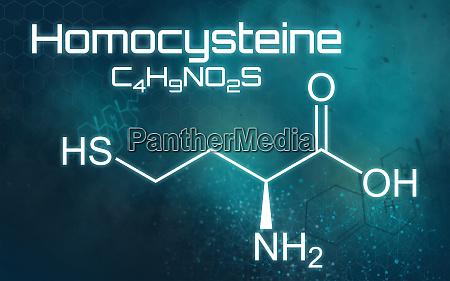 chemische formel von homocystein auf futuristischem
