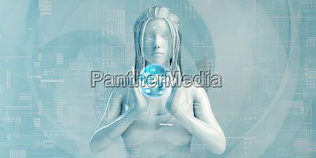 asiatische geschaeftsfrau mit digitalen loesungen