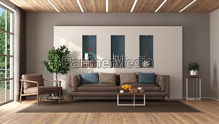 modernes wohnzimmer mit ledermoebeln