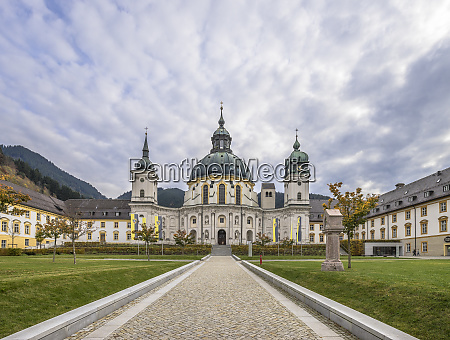 germany, , bavaria, , garmisch-partenkirchen, , courtyard, and, facade - 28051334