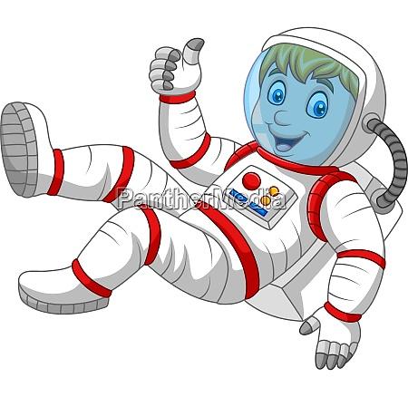 cartoon astronaut gibt daumen nach oben