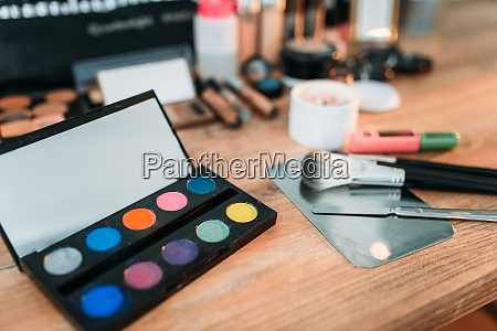 cosmetics, tools, on, wooden, table, , closeup - 28061388