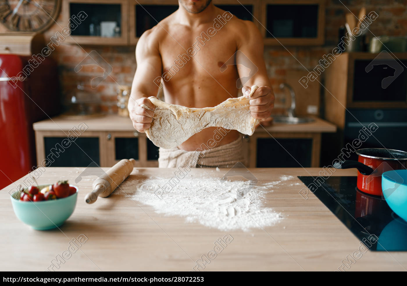 athletic, husband, in, underwear, cooking, on - 28072253