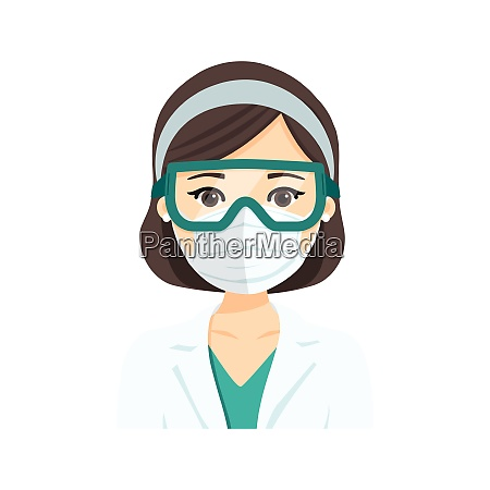 young female doctor wearing the n95