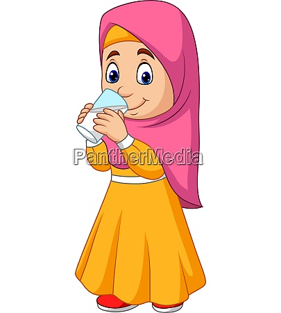 cartoon muslim girl drinking water