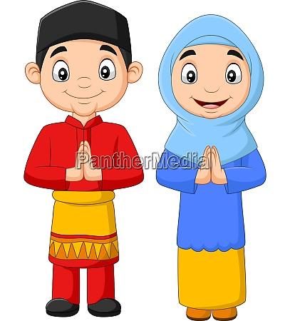 glueckliche muslimische kinder cartoon auf weissem