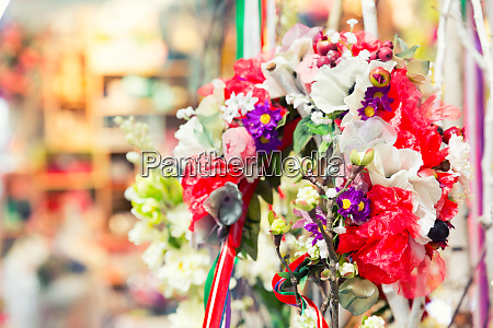 beautiful bouquet of bright flowers in