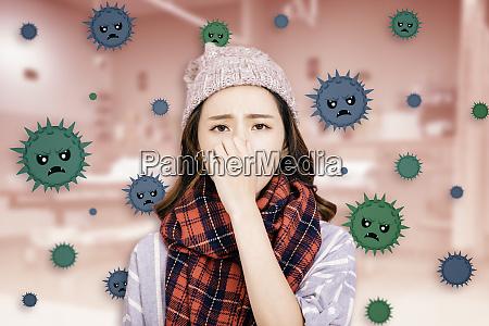 gestresstes maedchen traegt schutzmaske gegen grippevirus