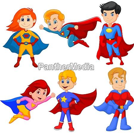 set von superhelden maedchen und jungen