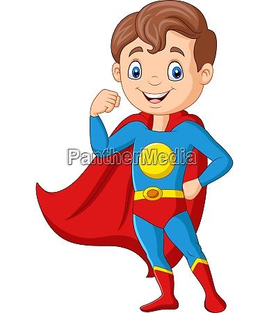 cartoon gluecklich superhelden junge posiert