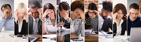 gestresste menschen bei der arbeit collage