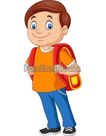 cartoon schuljunge mit rucksack