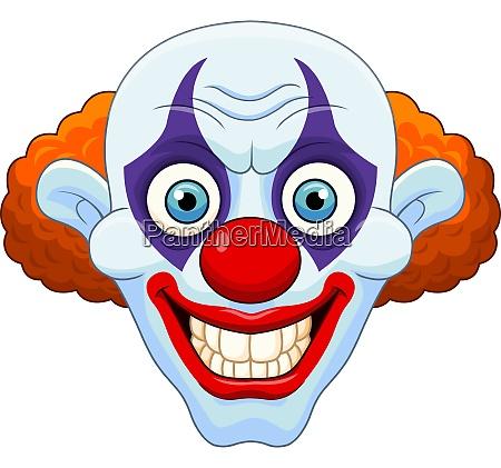 cartoon beaengstigend clown kopf auf weissem