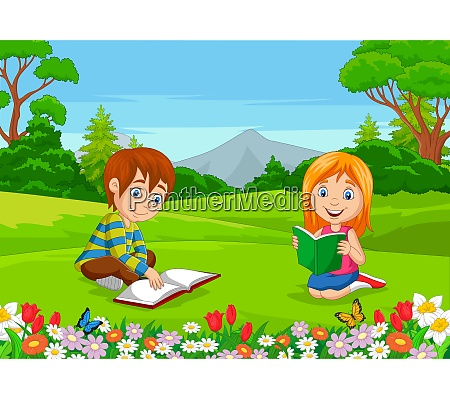 cartoon junge und maedchen lesen buecher