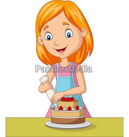 cartoon girl decorating a cake