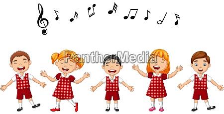 cartoon gruppe von kindern singt im