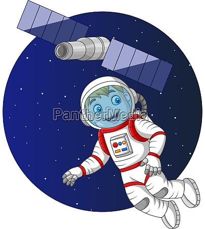cartoon junge astronaut fliegt im weltraum