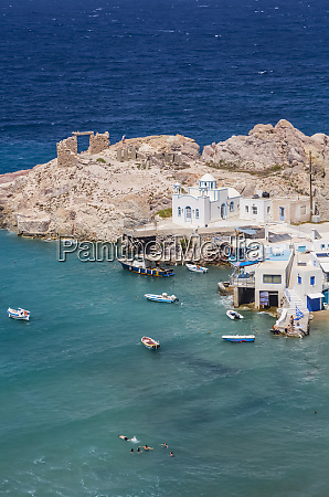 fyropotamos village with boats in the