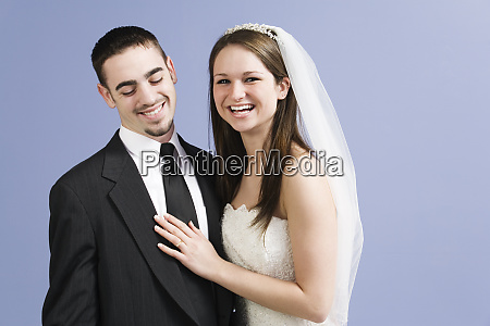 portrait of a smiling bride and