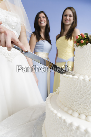 midsection of a couple cutting cake