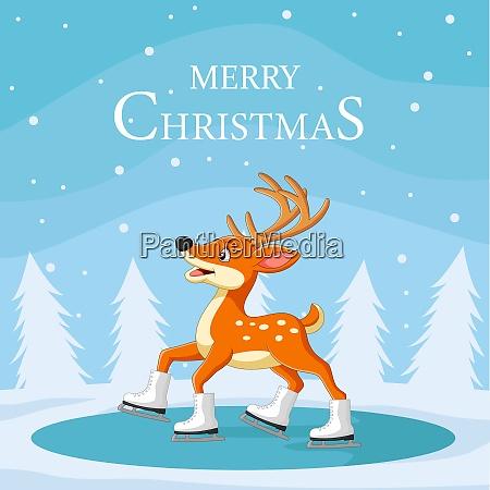 weihnachten reindede skating auf eis