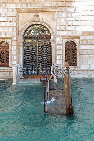 flooded landing at grand canal in