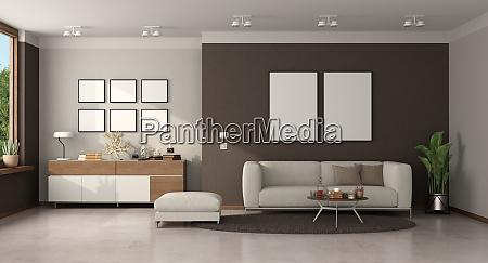 minimalistisches wohnzimmer mit modernem sofa und