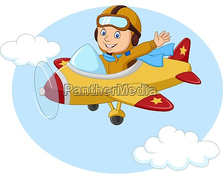 cartoon kleiner junge der ein flugzeug