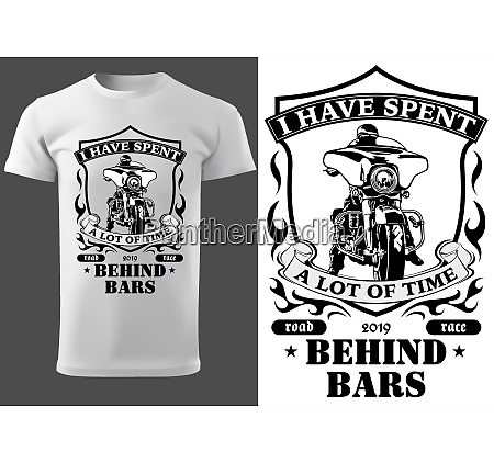 white t shirt design with motorcyclist