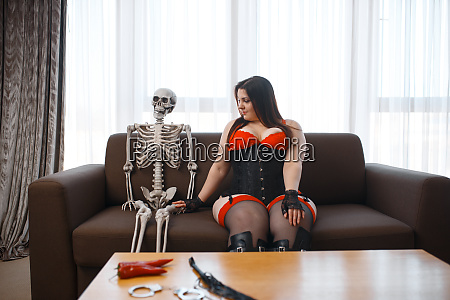 fat, depraved, woman, and, skeleton, are - 28136370