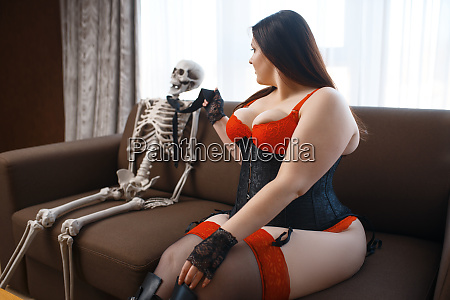 fat, depraved, woman, and, skeleton, are - 28136371