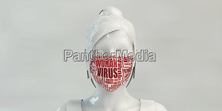 wuhan virus mit frau tragen schutzgesichtsmaske