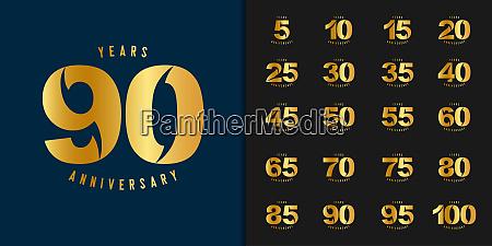 satz von jahrestag logo goldene jubilaeumsfeier
