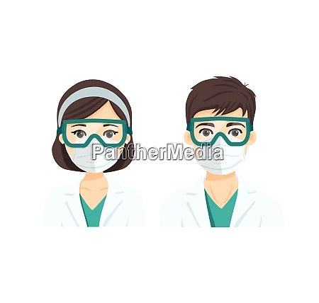 young male and female doctor with