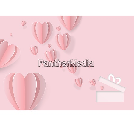 pink greeting card with paper hearts