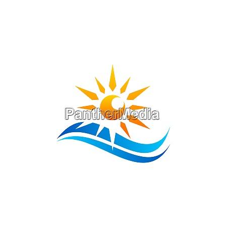 blaue wellen und sonnenlicht logo symbol
