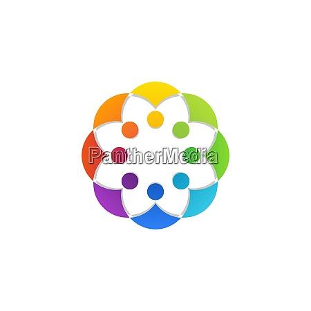 bunte kreisfoermige teamwork menschen verbindung logo